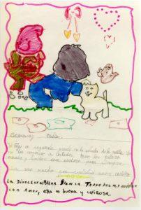 Carta y dibujo enviado por un niño de nuestros Albergues.
